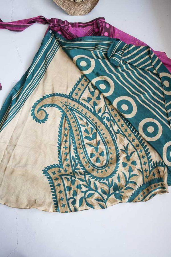 gypsy wikkelrok sari  laagsroze met petrolgroen en créme