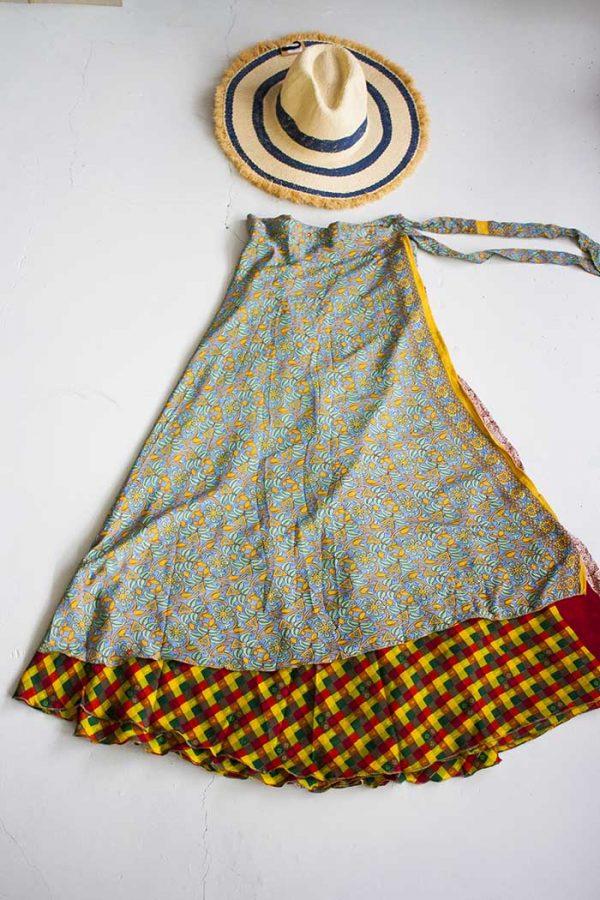 magische sari wikkelrok bohemian geel met lila en vintage ruitjes
