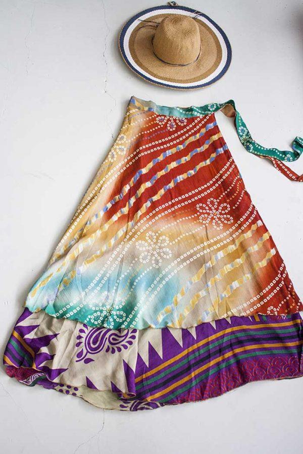 magische sari wikkelrok oranje turqoise paars créme