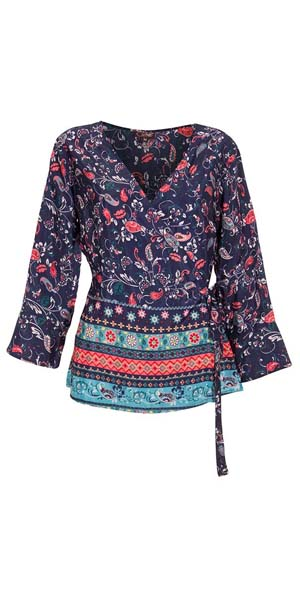 Blouse tuniekje polyester donkerblauw met bloemetjes