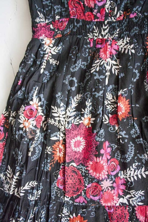 Lange boho jurk donkerblauw met mandala katoen