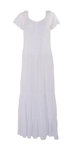 Lange boho jurk roomwit viscose met embroidery v hals en koordjes