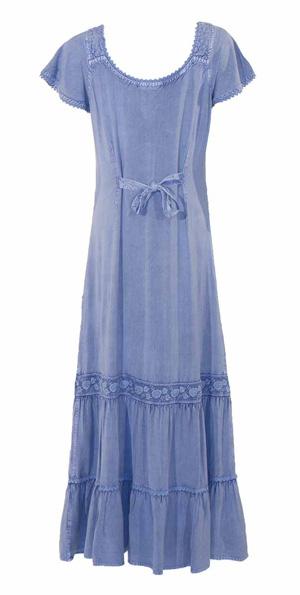 Lange boho jurk viscose met embroidery v hals en koordjes