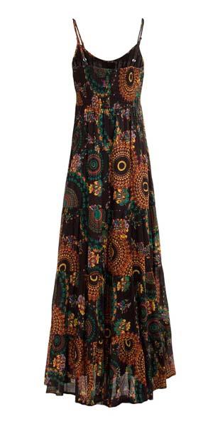Lange boho jurk zwart met mandalas katoen