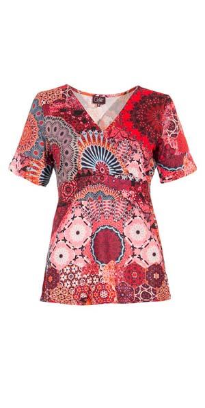 Shirt rood roze wit mandala wikkel