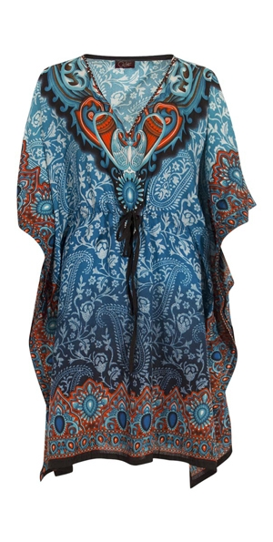 Tuniek sixty India blauwgroen polyester