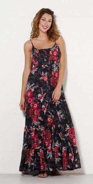 boho lange maxi floral dress zwart met rode bloemen