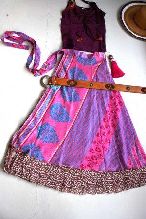 wikkelrok boho gyspy roze met blauw en bruin