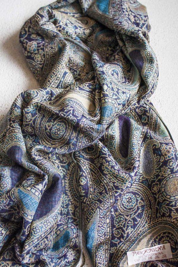 Pashmina sjaal met franjes blauw paars turqoise