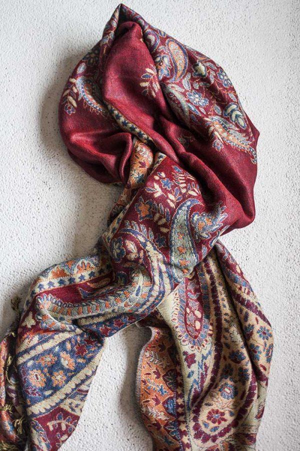 Pashmina sjaal met franjes dieprood met paars