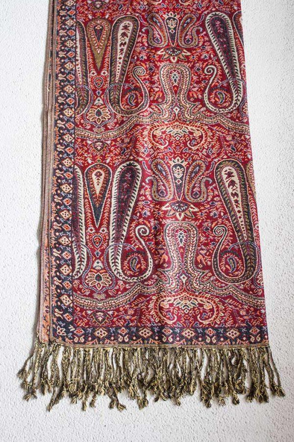 Pashmina sjaal met franjes dieprood met zwart en wit