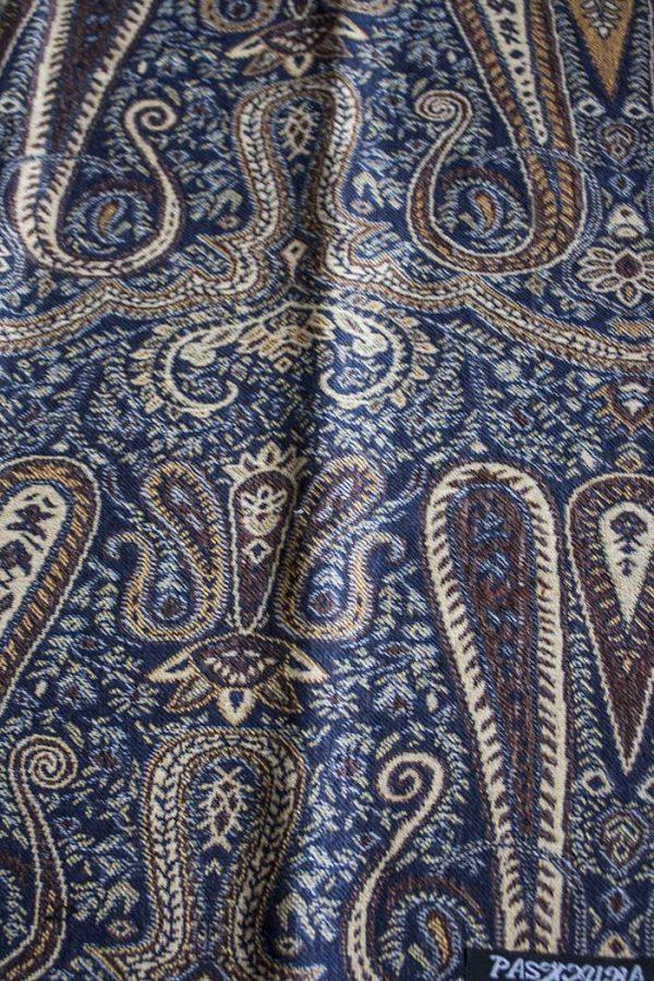 Pashmina sjaal met franjes donker blauwgrijs met bruin en beige