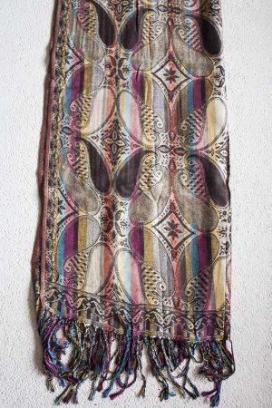 Pashmina sjaal met franjes donkerbruin met kleurtjes