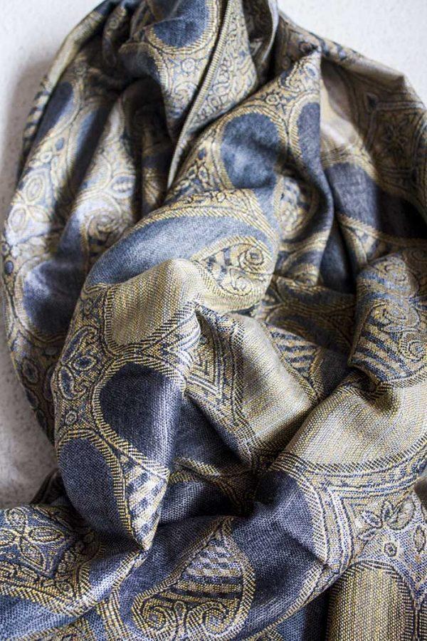 Pashmina sjaal met franjes grijs donkergrijs goudbeige