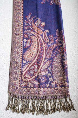 Pashmina sjaal met franjes paars met rood en oranje