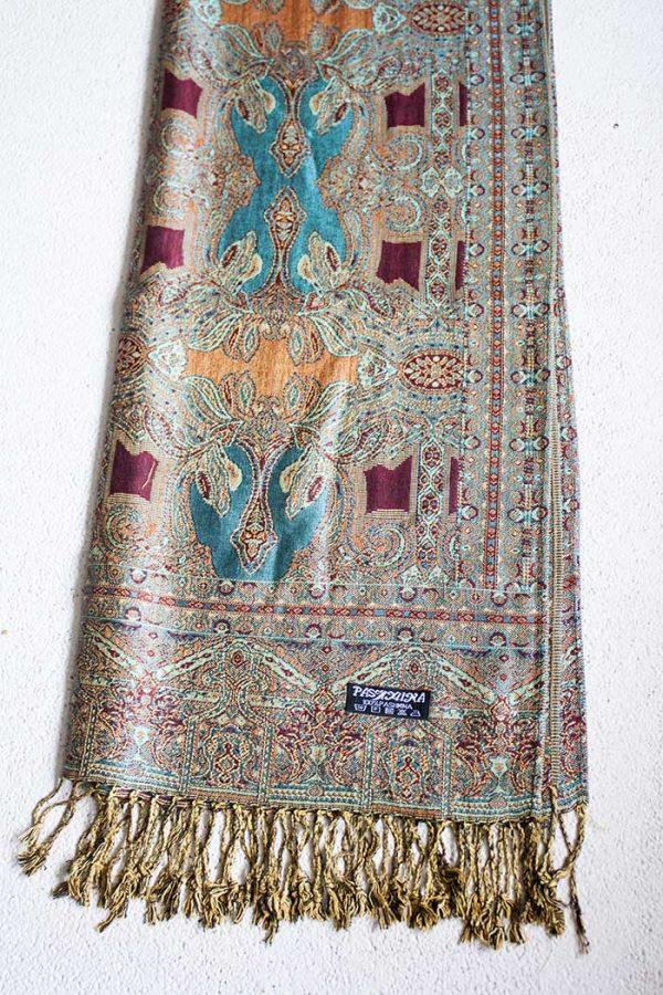 Pashmina sjaal met franjes turqoise met oranje