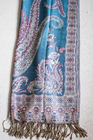Pashmina sjaal met franjes turqoise met roze en fuchsia