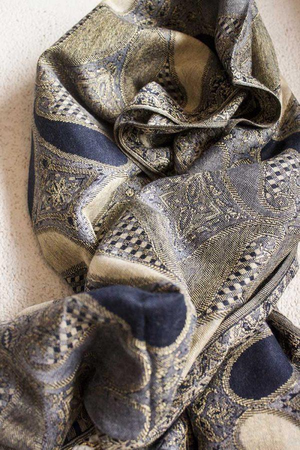 Pashmina sjaal met franjes zwart grijs beige goud