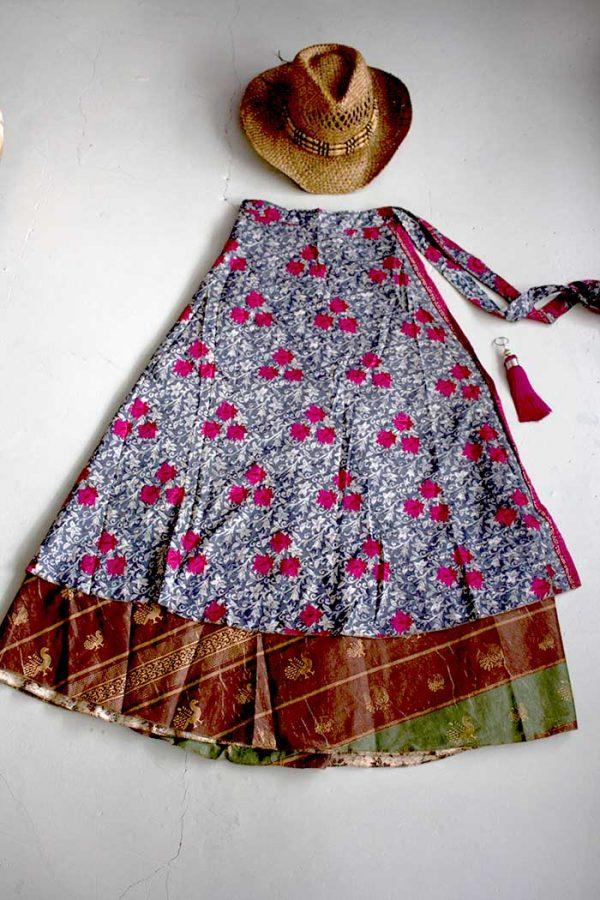 wikkelrok sari boho gyspy denimblauw roze rozen bruin en groen