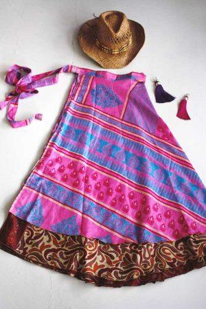 wikkelrok sari boho gyspy felroze blauw en terra