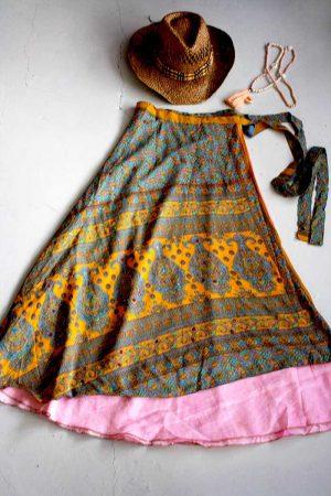 wikkelrok sari boho gyspy okergeel groen blauw en roze