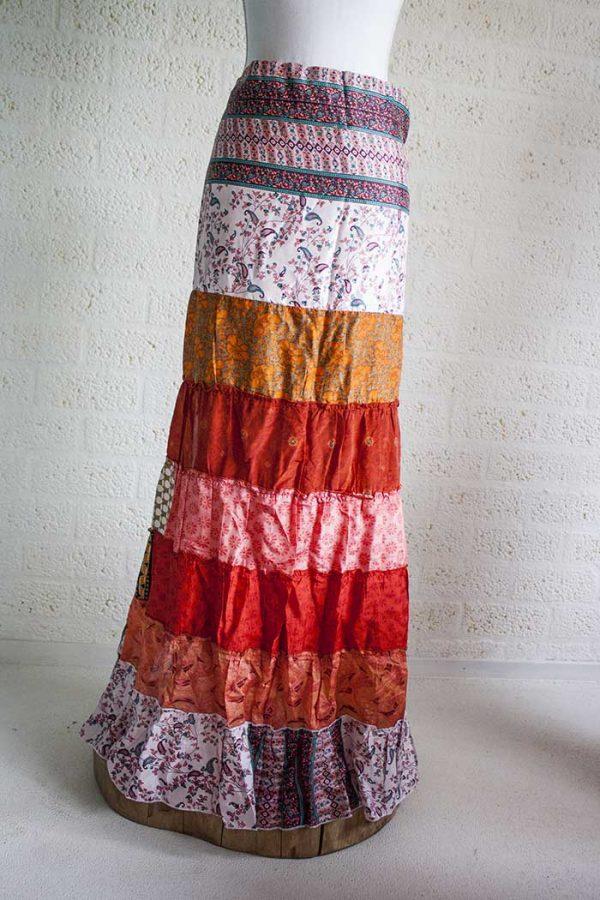 Gypsy wikkelrok saristof stroken oranje terra wit