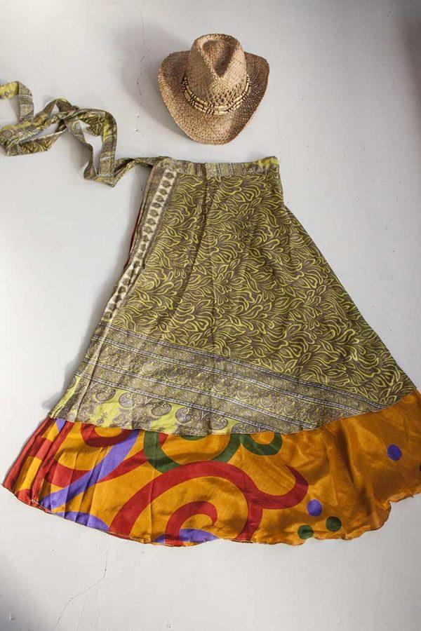 magische sari wikkelrok geel lichtbruin en donker okeroranje