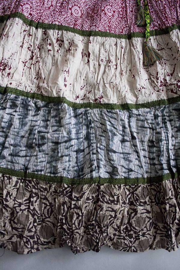 Gipsy multi fabric strokenrok donkerrood roomwit en bruin