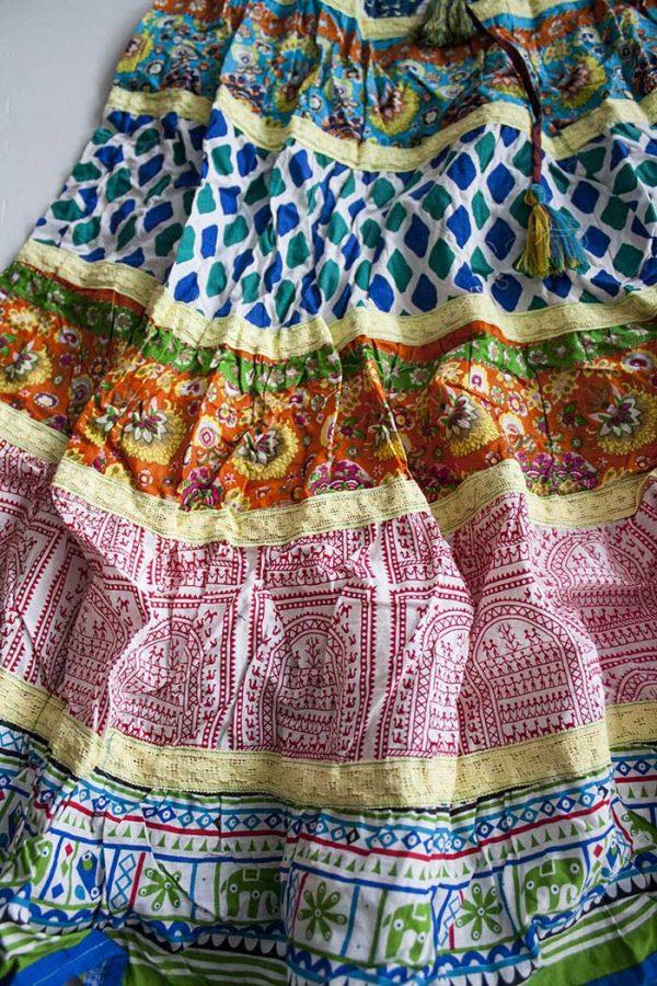 Gipsy multi fabric strokenrok oranje blauw geel