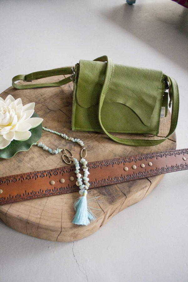 clutch groen leer met portemonnee  scaled