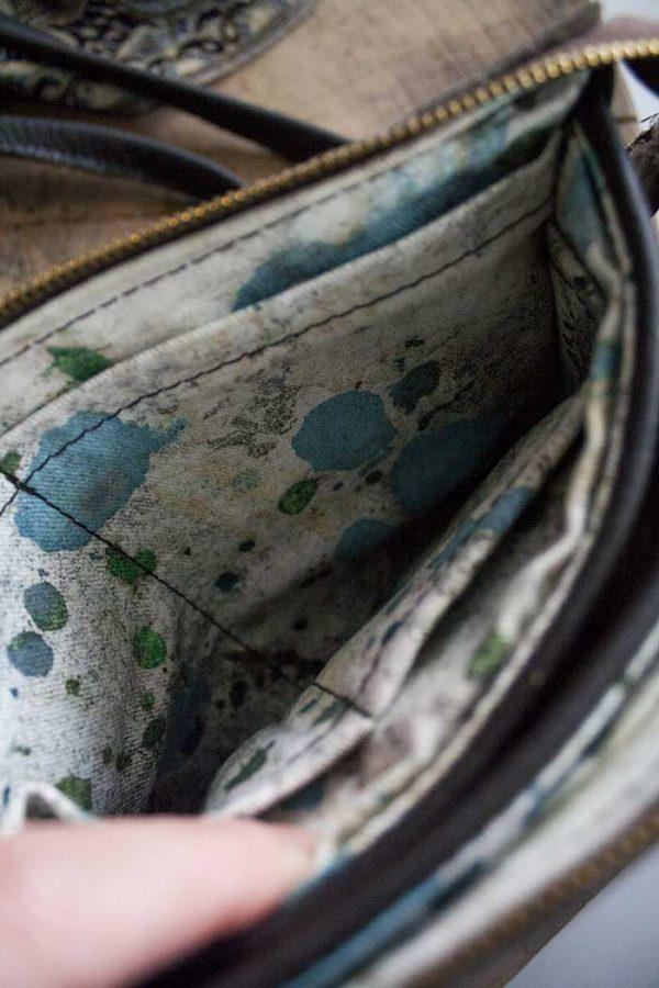 clutch handtasje donkerbruin leer veel vakjes