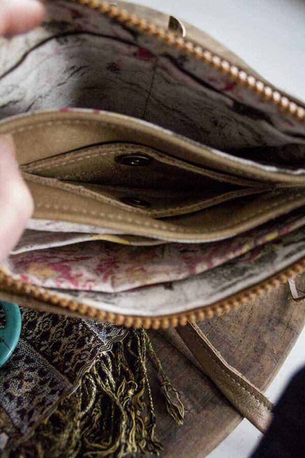 clutch lichtbruin leer met portemonnee