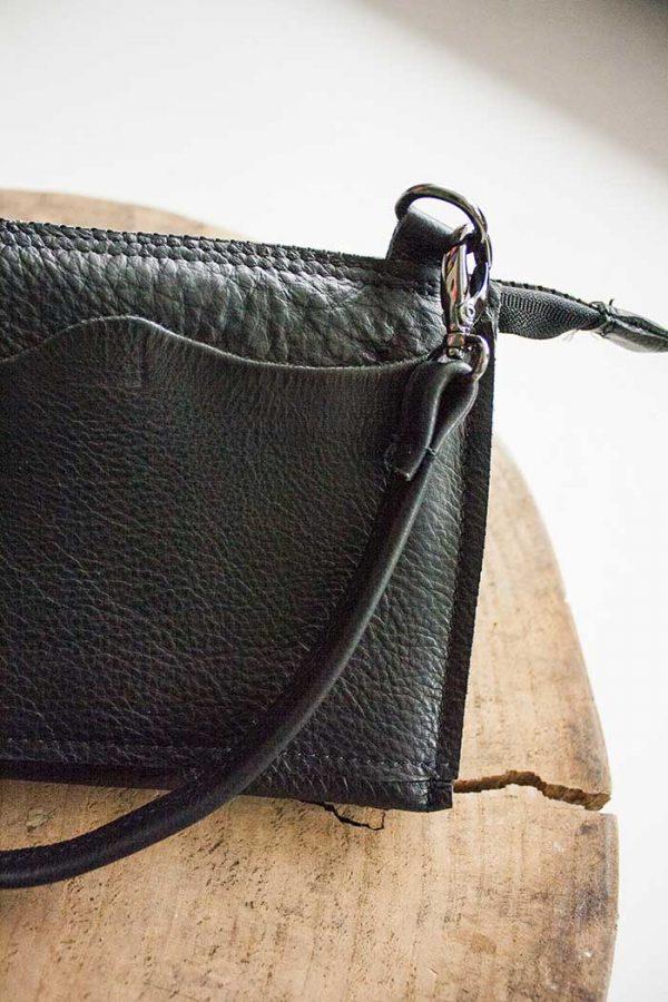 clutch zwart leer met portemonnee