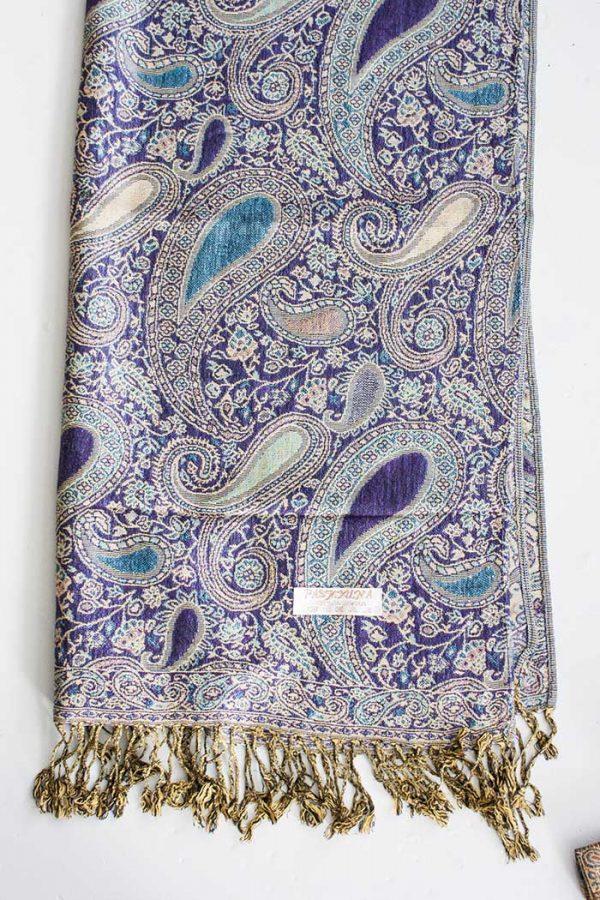 pashmina sjaal met franjes donkerpaars turqoise