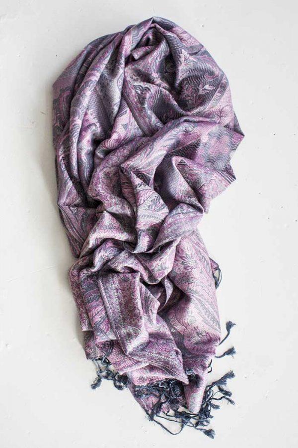 pashmina sjaal met franjes grijs met roze