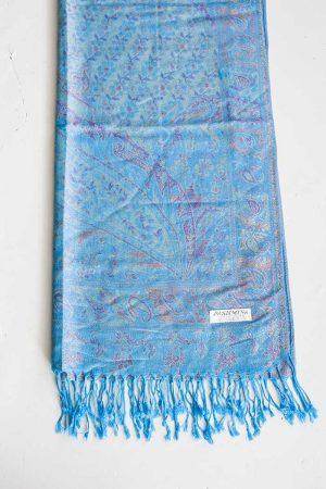 pashmina sjaal met franjes helder turqoise