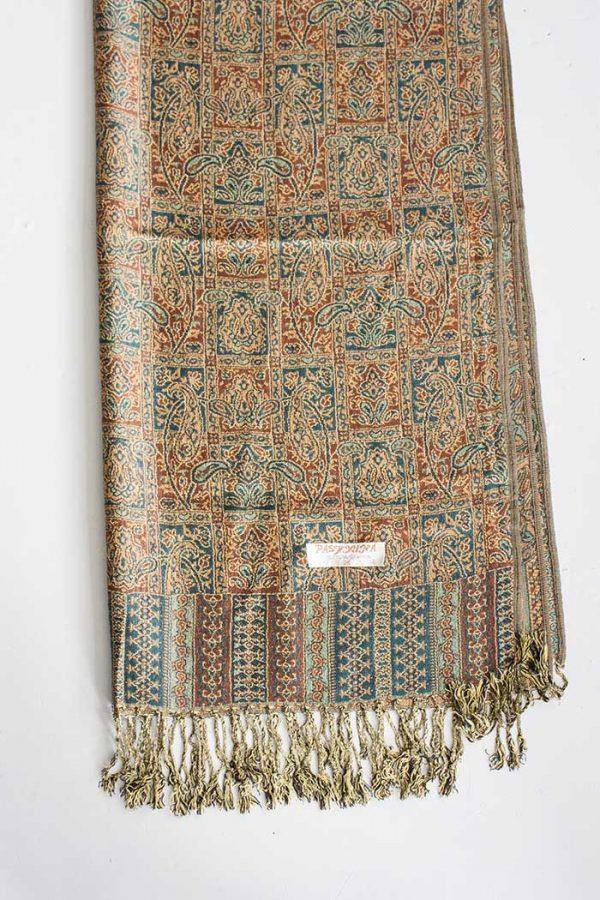 pashmina sjaal met franjes oranje met groen