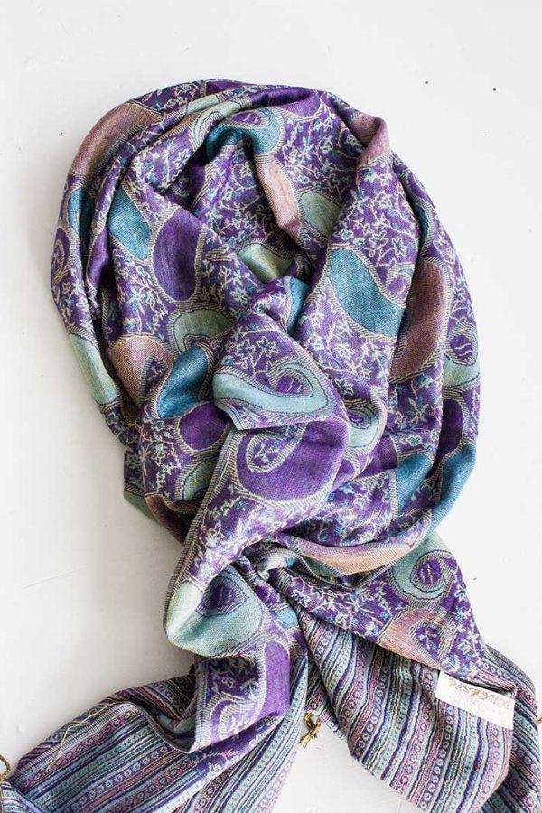 pashmina sjaal met franjes paars turqoise en roomwit