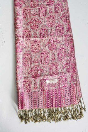 pashmina sjaal met franjes roze met roomwit
