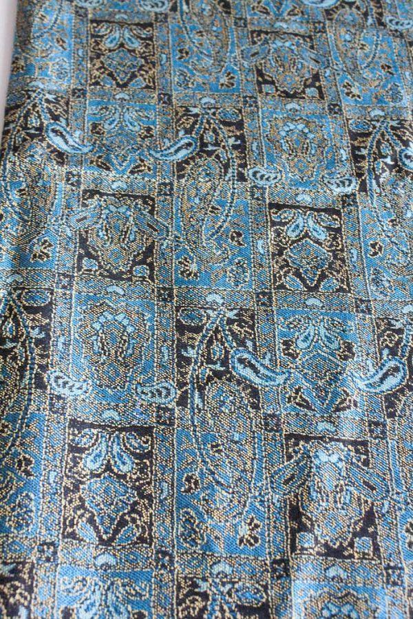 pashmina sjaal met franjes turqoise met bruin
