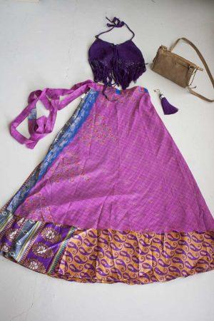 Gipsy ibiza India wikkelrok roze paars en goud