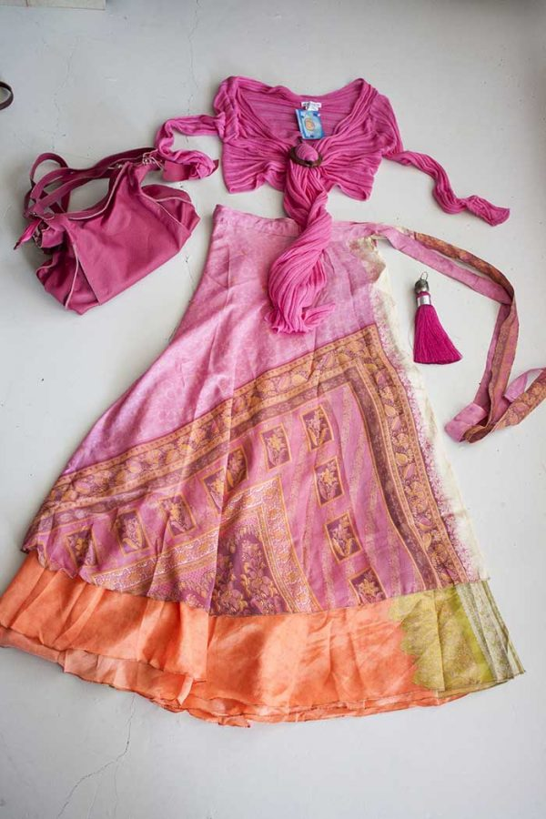Gipsy ibiza India wikkelrok roze roze oranje