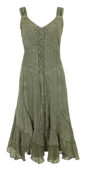 Halflange jurk zachtgroen met embroidery India