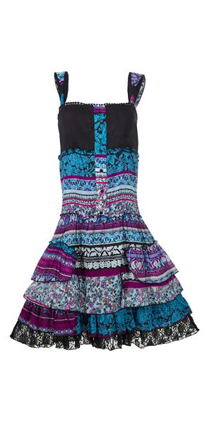 Korte jurk blauw paars roze met stroken en ruches