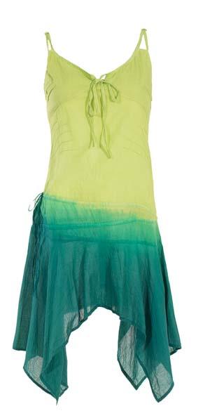 Mini jurk geel groen Gipsy met punten