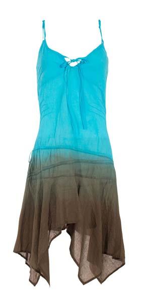 Mini jurk turqoise bruin Gipsy met punten