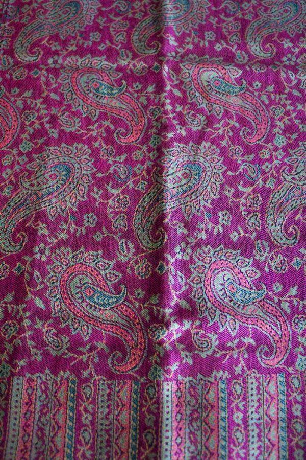 Pashmina sjaal met franjes fel roze
