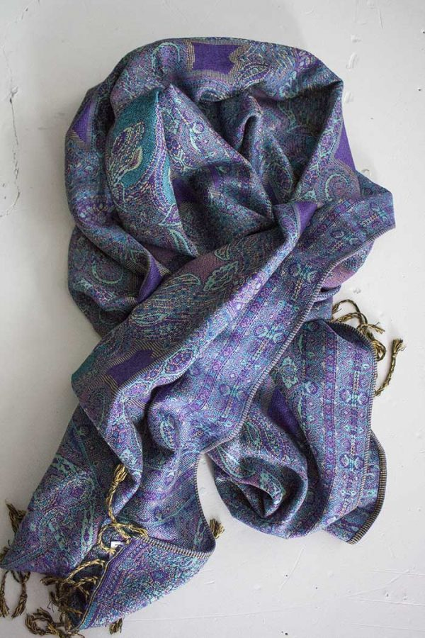 Pashmina sjaal met franjes paars turqoise