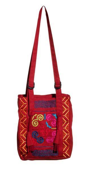 Schoudertas rood katoen met kleurige borduursels
