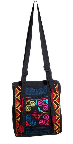 Schoudertas zwart katoen met kleurige borduursels